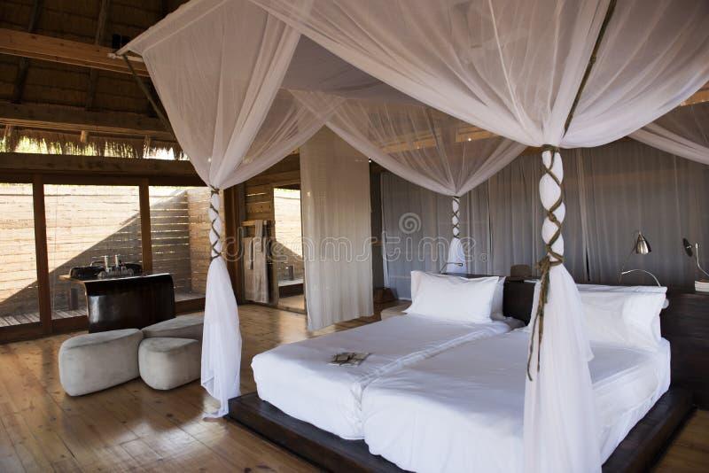 Luxury safari Hotel Botswana. Beautiful bedroom of the luxury safari hotel Vumbura Plains Camp in Botswana, Africa