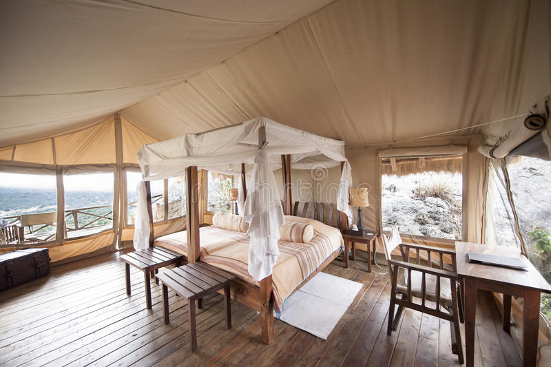 Luxury Safari Tent Uganda. Luxury tented Safari Lode Uganda royalty free stock photo