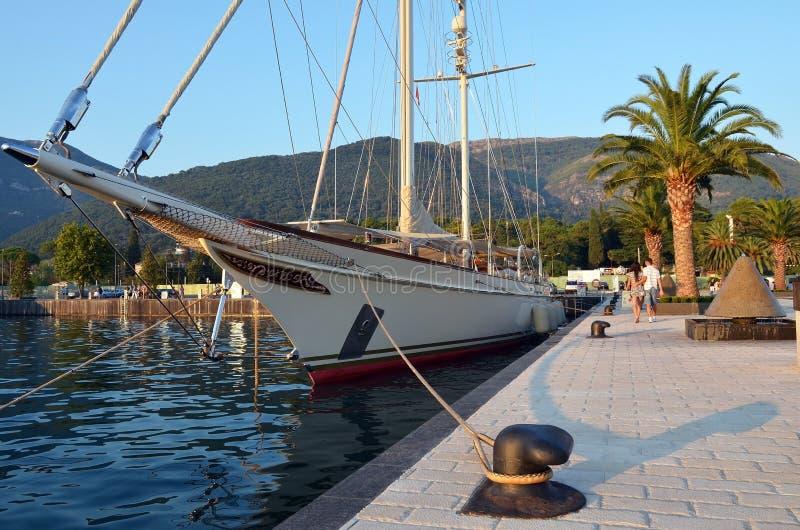 Luxury sailing yacht stock images