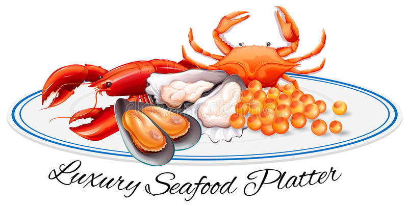Luxury seafood on the plate royalty free illustration
