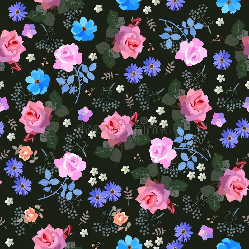 Luxury seamless floral ditsy pattern with roses, bell, cosmos and umbrella flowers, daisy and leaves on black background. Print. For fabric stock illustration
