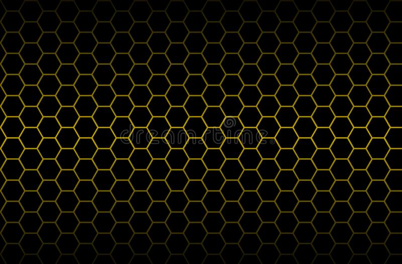 Luxury seamless geometric pattern. Grid hexagonal texture Dark vector background with golden honeycomb honey for design banner or royalty free illustration