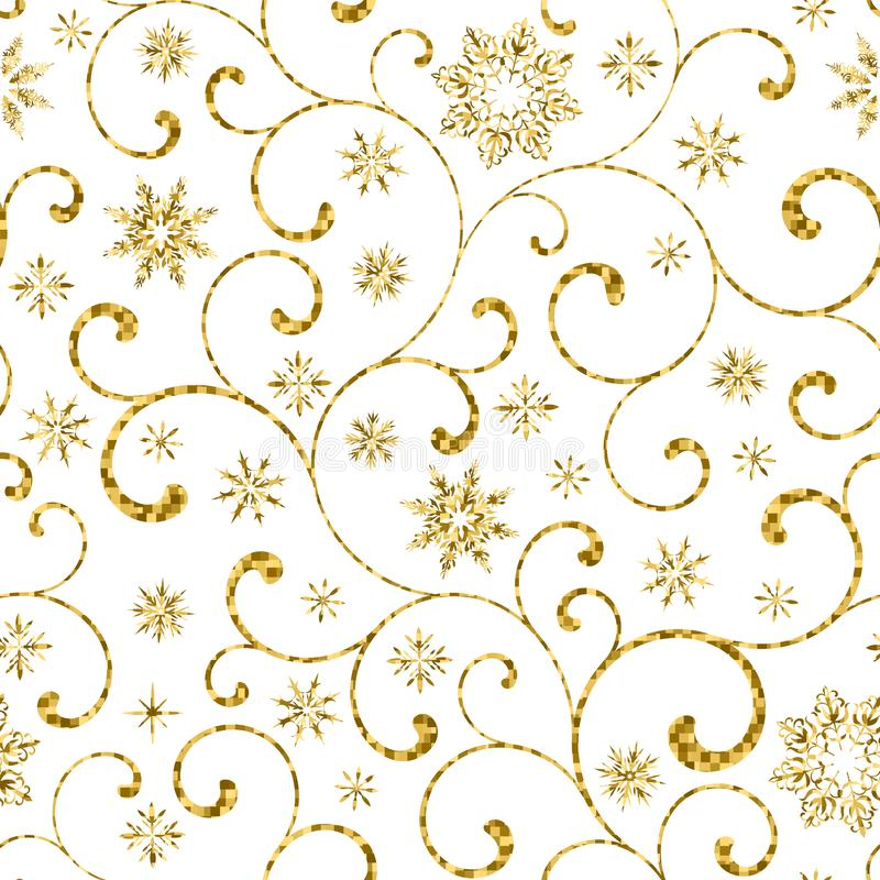 Luxury seamless pattern with gold swirl and snowflakes on a white background. royalty free illustration