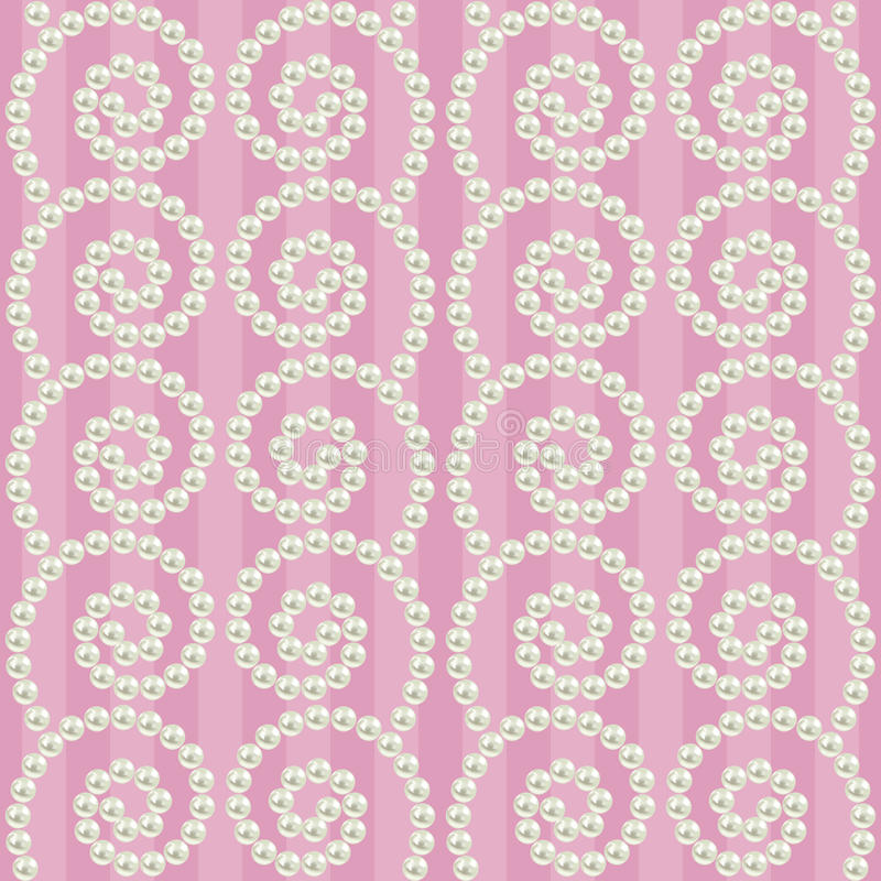 Luxury seamless pattern with pearls wavy borders royalty free illustration