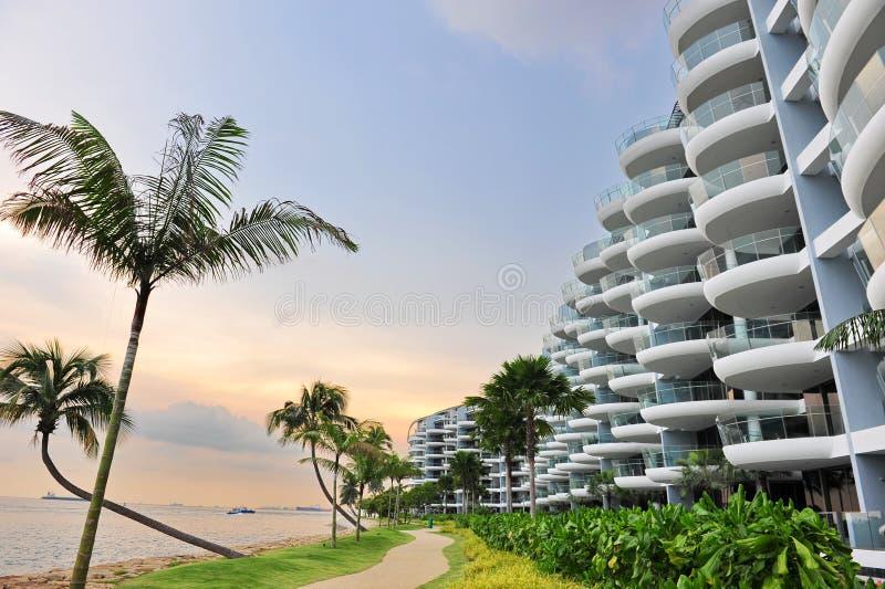 Luxury seaside condominium royalty free stock photo