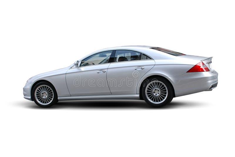 Luxury Sedan. Huge Expensive Silver Metallic Color German Engineered Luxury Sedan Car (isolated stock photo
