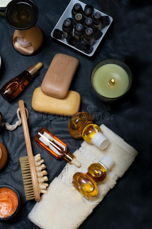 Luxury Set of spa products with accessoires on black background.  royalty free stock photos