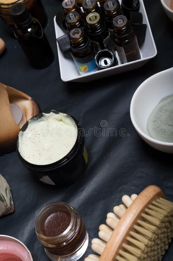 Luxury Set of spa products with accessoires on black background.  royalty free stock image