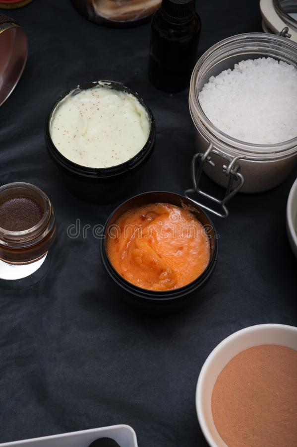 Luxury Set of spa products with accessoires on black background.  royalty free stock photo