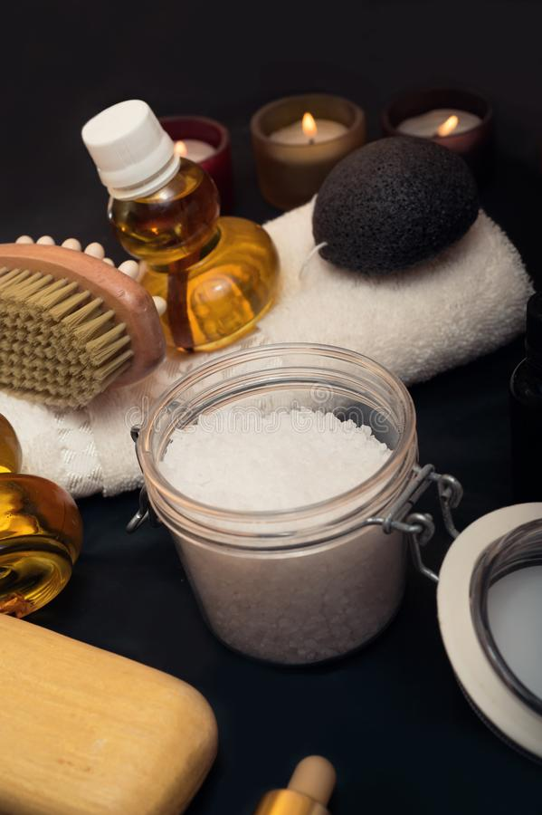 Luxury Set of spa products with accessoires on black background.  stock photos