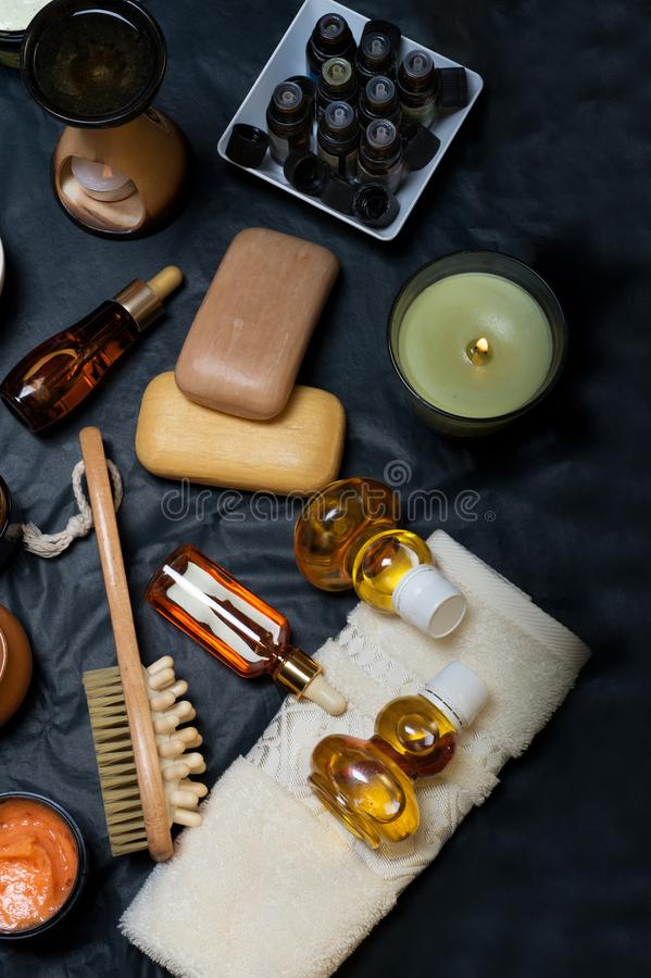 Luxury Set of spa products with accessoires on black background.  stock photo