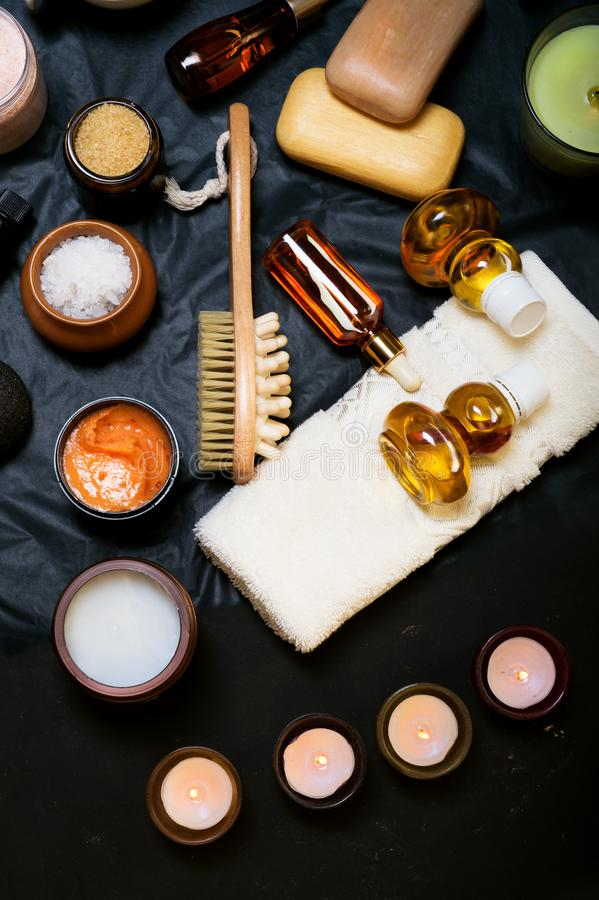 Luxury Set of spa products with accessoires on black background.  royalty free stock images