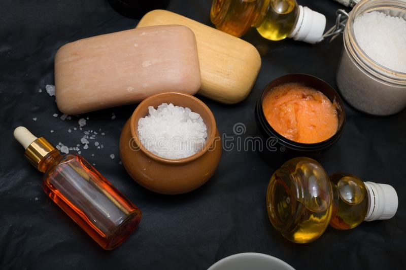 Luxury Set of spa products with accessoires on black background.  stock images