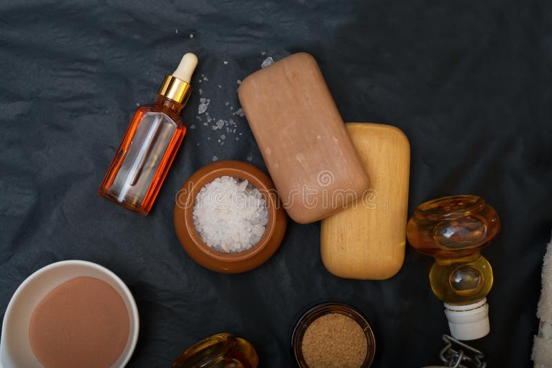 Luxury Set of spa products with accessoires on black background.  stock image