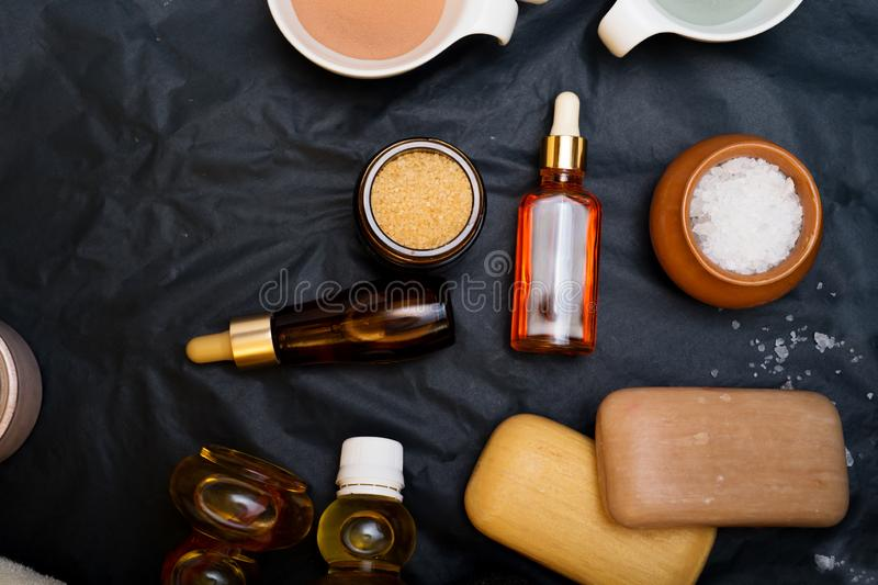 Luxury Set of spa products with accessoires on black background.  stock photography
