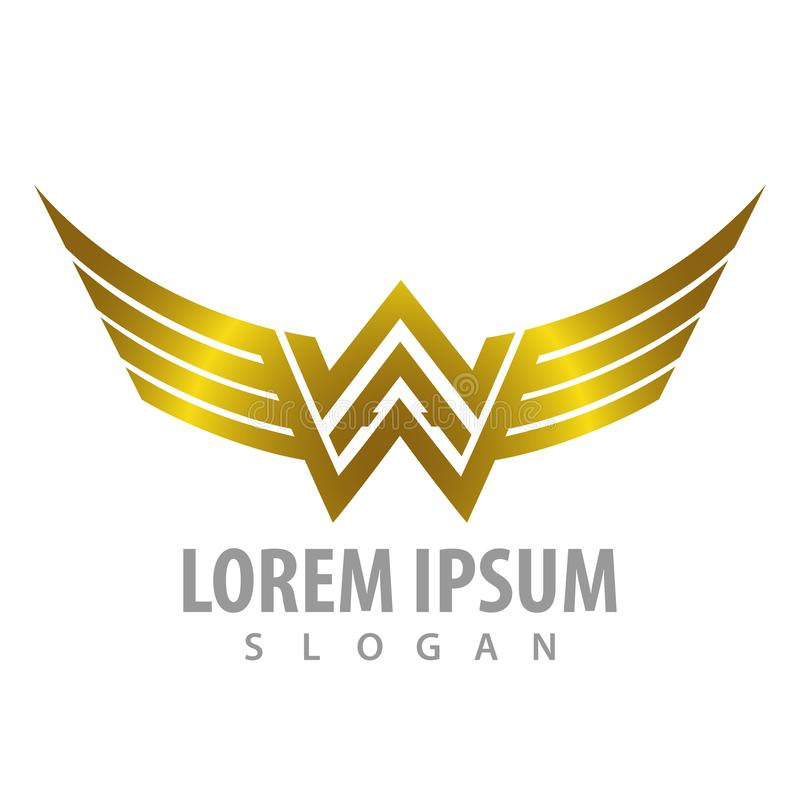 Luxury shiny wing letter WW concept design. Symbol graphic template element vector vector illustration