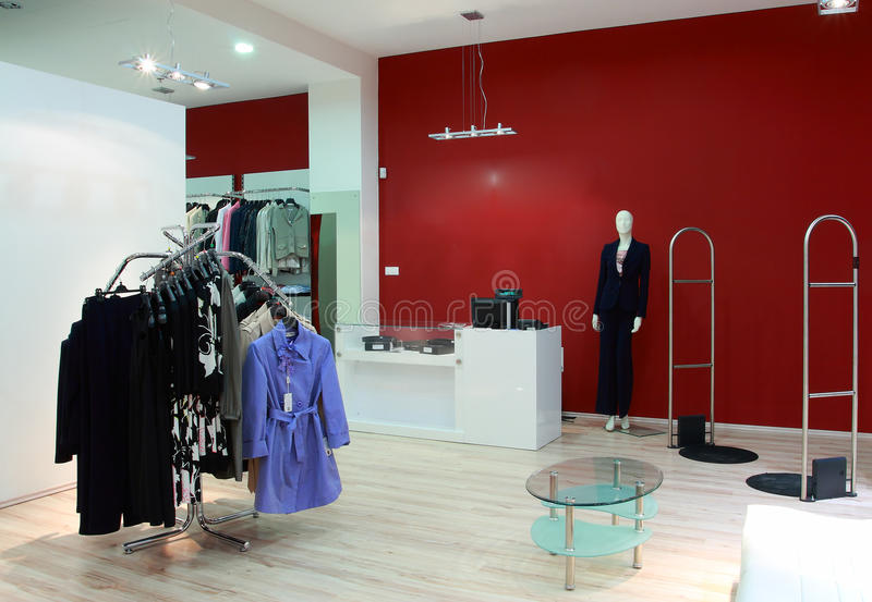 Luxury shop. With a cloathes stock images