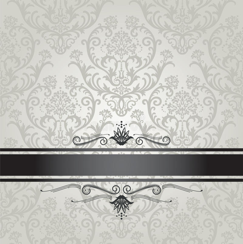 Luxury silver floral wallpaper pattern with black royalty free stock image
