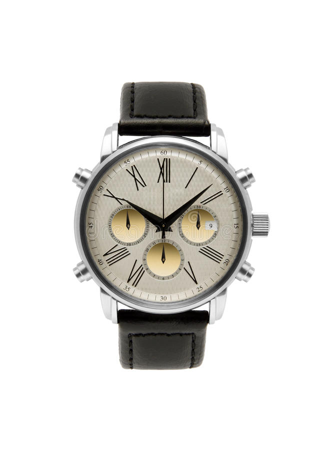 Luxury silver man watch. Against white background stock image
