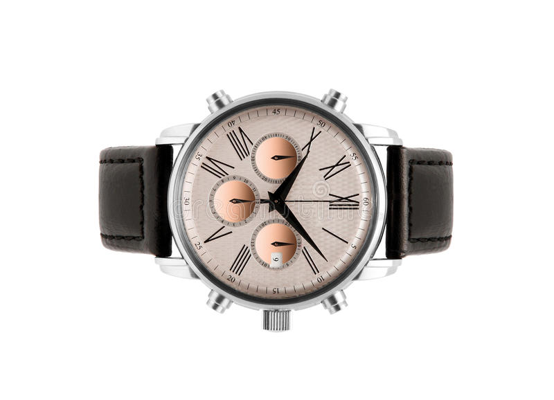 Luxury silver man watch. Against white background stock photography