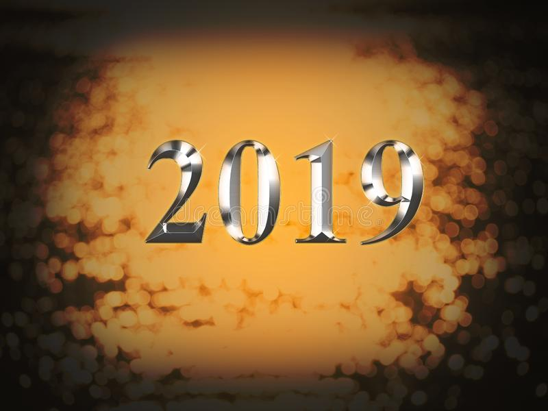 Luxury silver 2019 new year on gold bokeh background. Happy new year 2019 stock photos