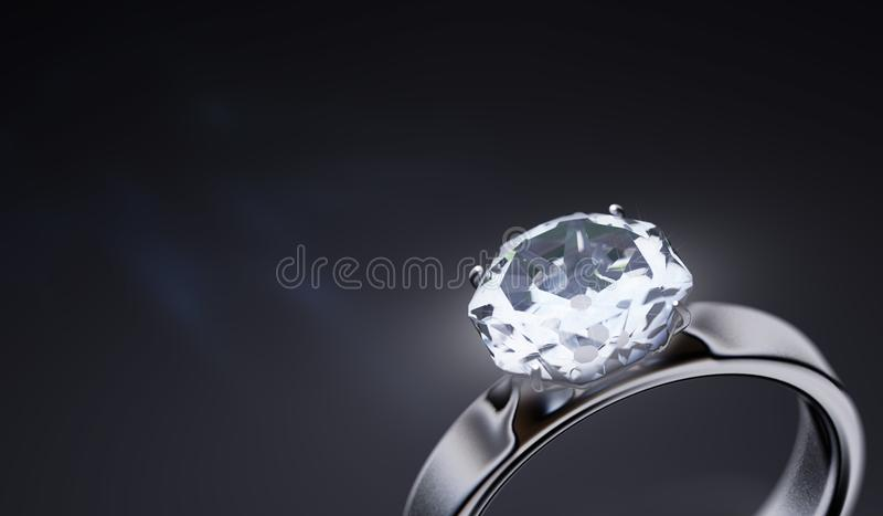 Luxury silver ring with diamond on black background. 3D rendered illustration.  royalty free illustration