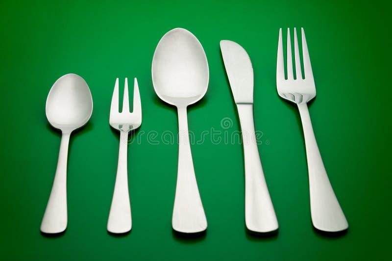 Luxury silverware set stock image