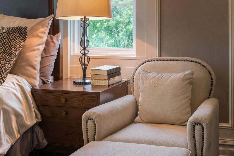 Luxury sofa in classic style bedroom interior. At home stock photography