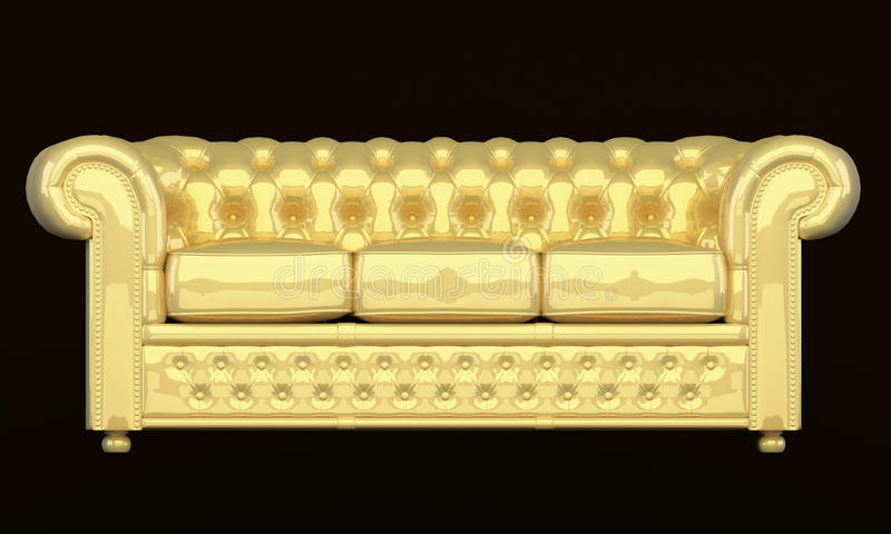 Luxury sofa with golden leather royalty free illustration