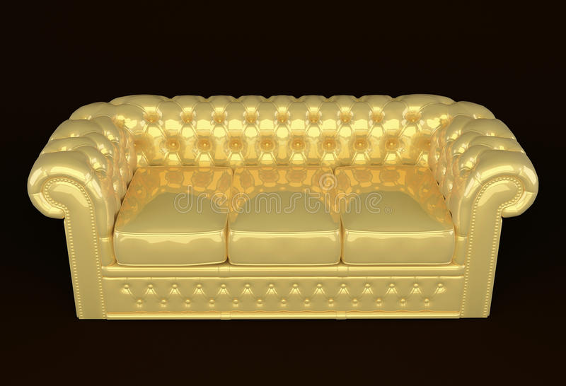 Luxury sofa with golden leather vector illustration