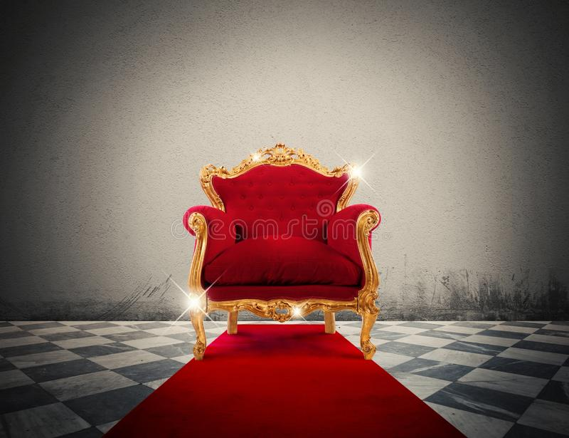 Luxury sparkling armchair. Sparkling golden armchair in a red carpet stock illustration
