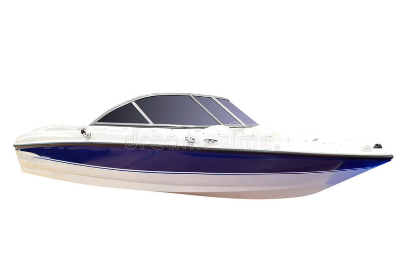 Luxury speed boat isolated royalty free stock image