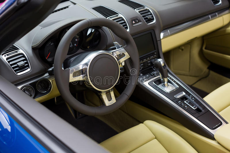 Luxury sport car interior. Steering wheel and Automatic gear shift handle,luxury sport car interior royalty free stock image