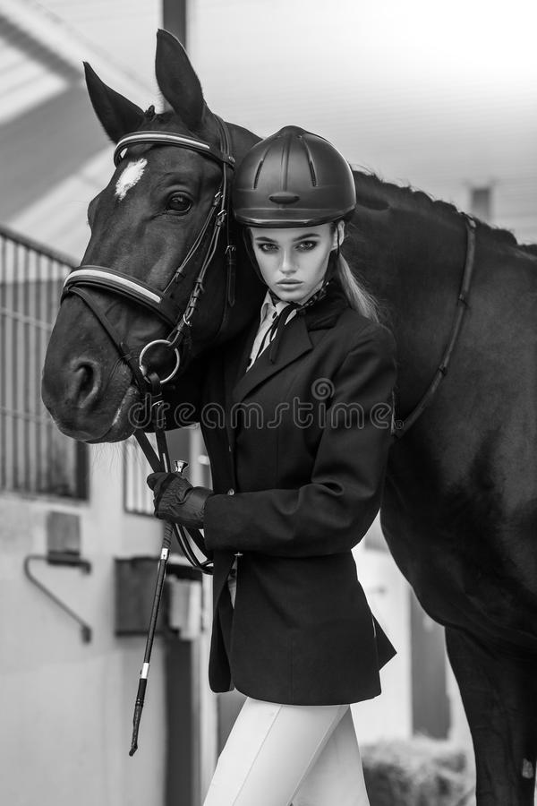 Luxury sport. Photo in equides club. Perfect model and hourse stock image