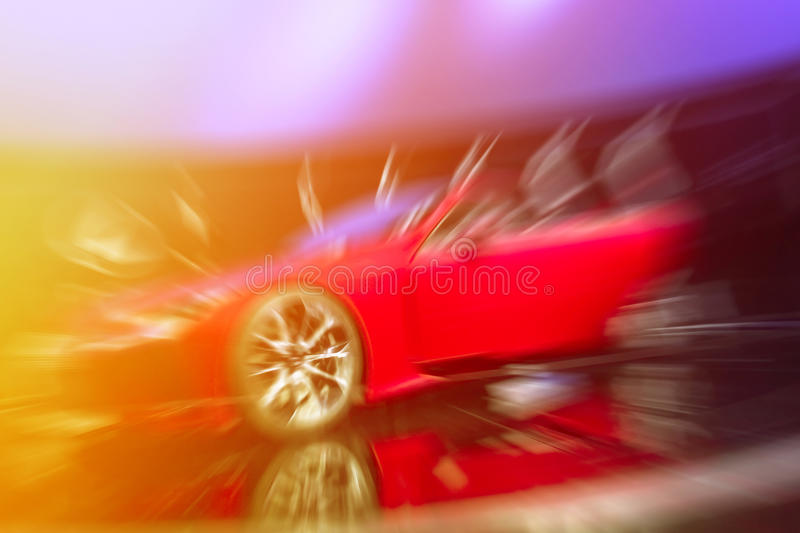Luxury sports car. In motion driving fast stock image