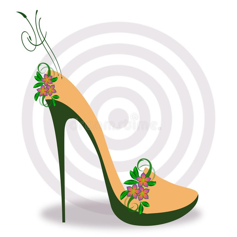 Luxury stylish high heel boot. In orange and green, with abstract spring floral elements and concentric gray circles royalty free illustration