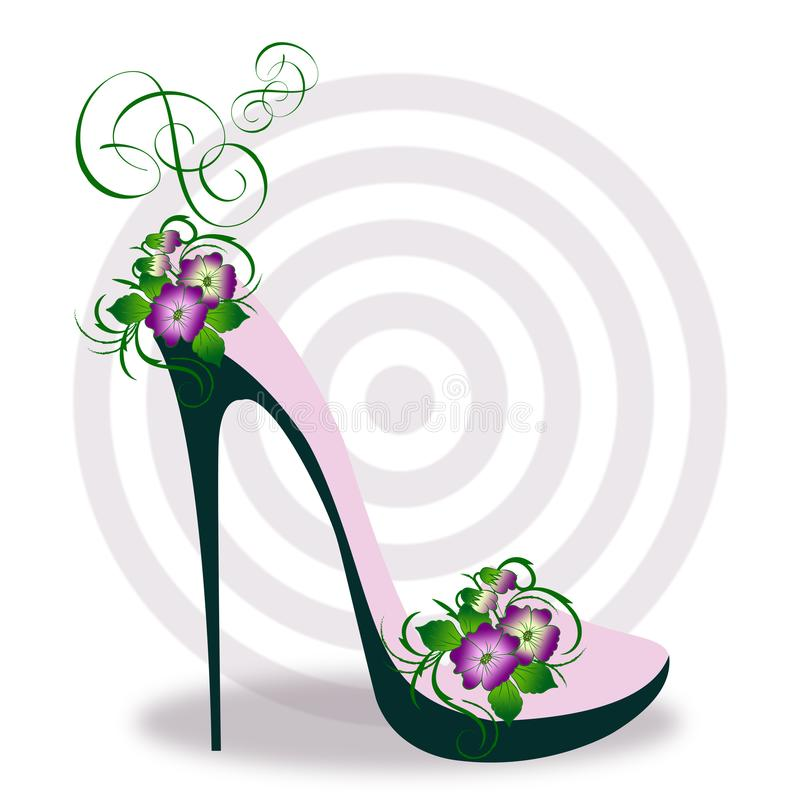 Luxury stylish high heel boot. In pink and green, with abstract spring floral elements and concentric gray circles royalty free illustration