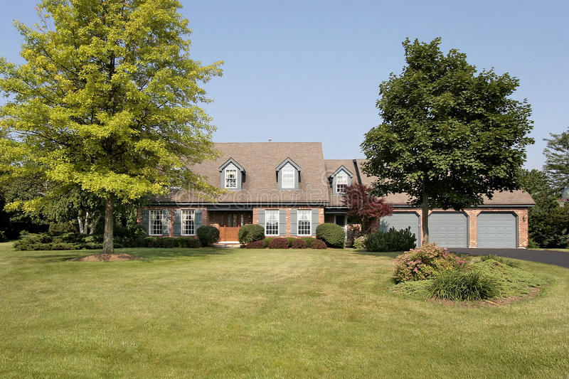 Luxury suburban brick home. Luxury brick home in suburbs with large lawn stock image