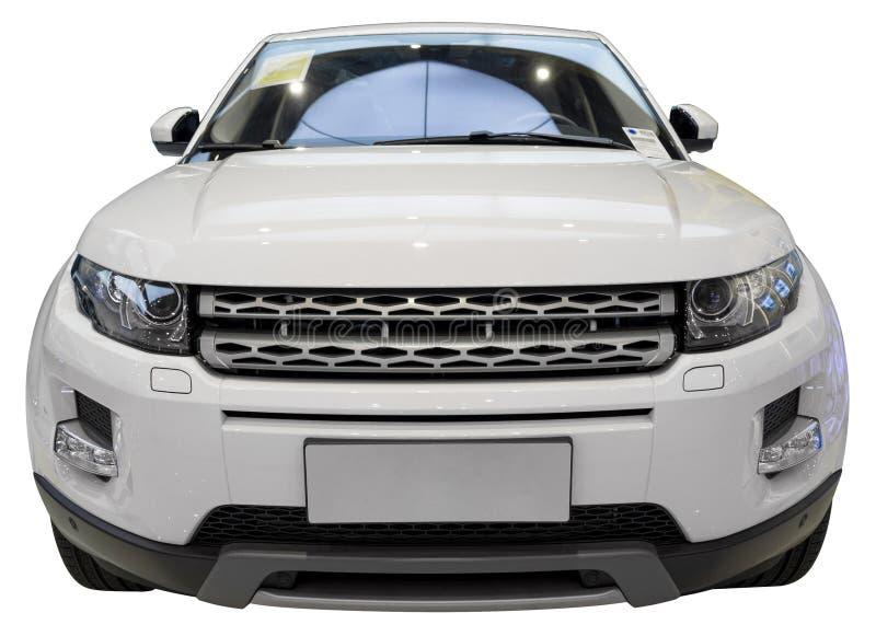Luxury SUV. White luxury 4x4 SUV isolate on white royalty free stock photography