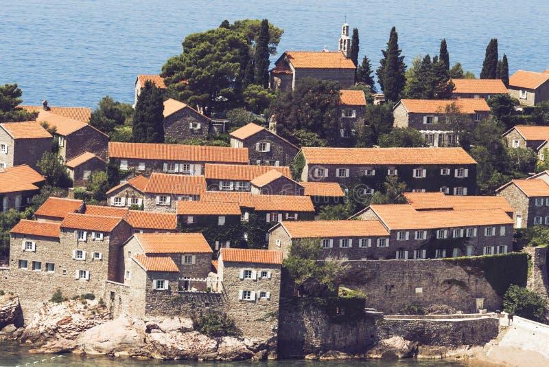 Luxury Sveti Stefan island in Budva in a beautiful summer day, Montenegro. Adriatic sea, Montenegro, Europe. Beautiful world of stock photos