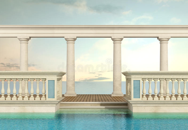 Luxury swimming pool with balustrade and colonnade. Luxury swimming pool with classic balustrade and colonnade overlooking the sea - 3d Rendering stock illustration
