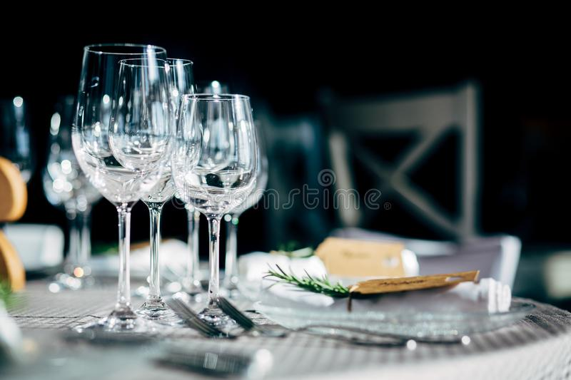 Luxury Table setting for party, Christmas, holidays and weddings.  royalty free stock photography