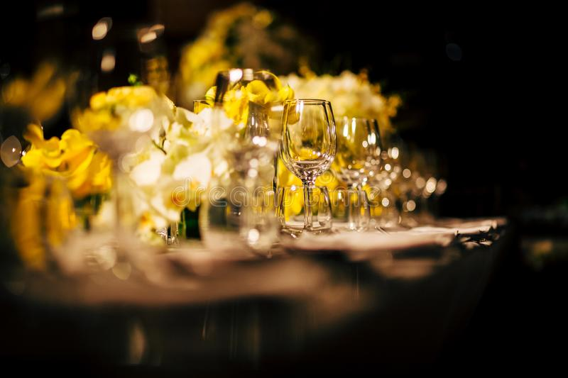 Luxury Table setting for party, Christmas, holidays and weddings.  royalty free stock photo