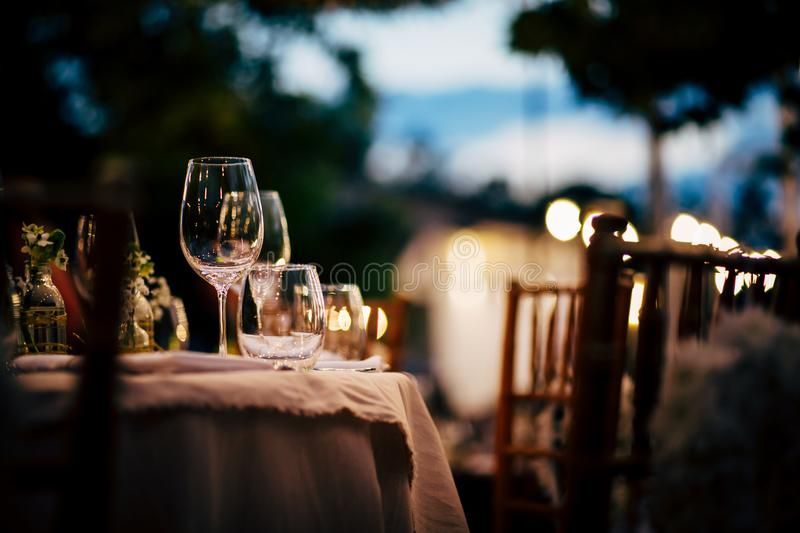 Luxury Table setting for party, Christmas, holidays and weddings.  stock photo