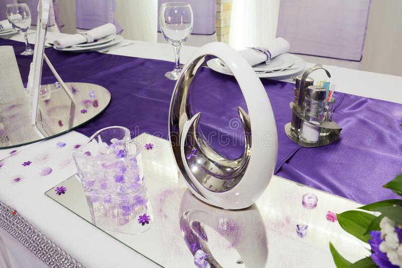 Luxury table setting for wedding stock photo