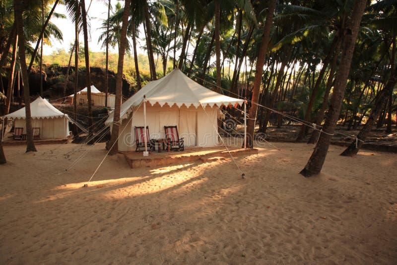 Luxury tent on the beach India stock photos
