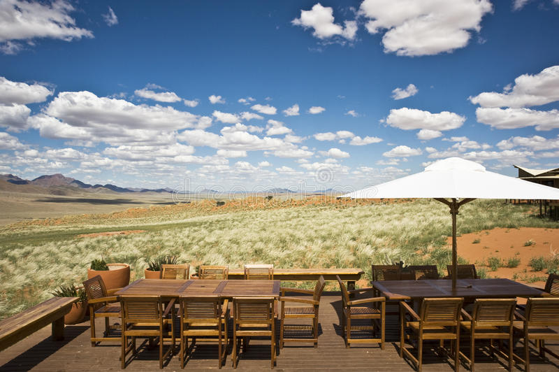 Patio in the dunes of Namibia. Terrace of a luxury safari hotel in Namibia, Africa royalty free stock images