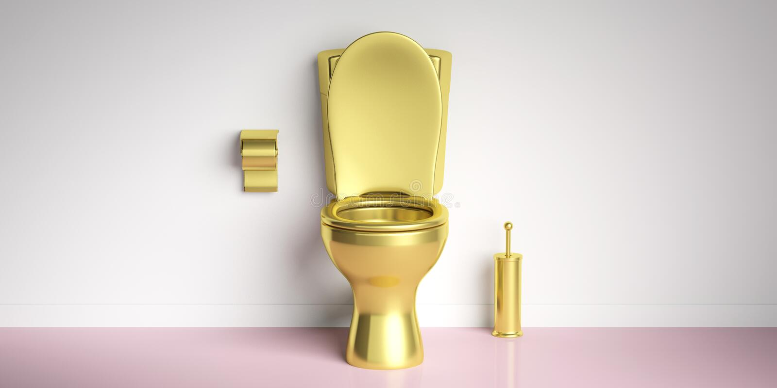 Golden toilet bowl on pink floor, white wall background, copy space. 3d illustration. Luxury toilets. Golden toilet bowl and accesories on pink floor, white wall vector illustration