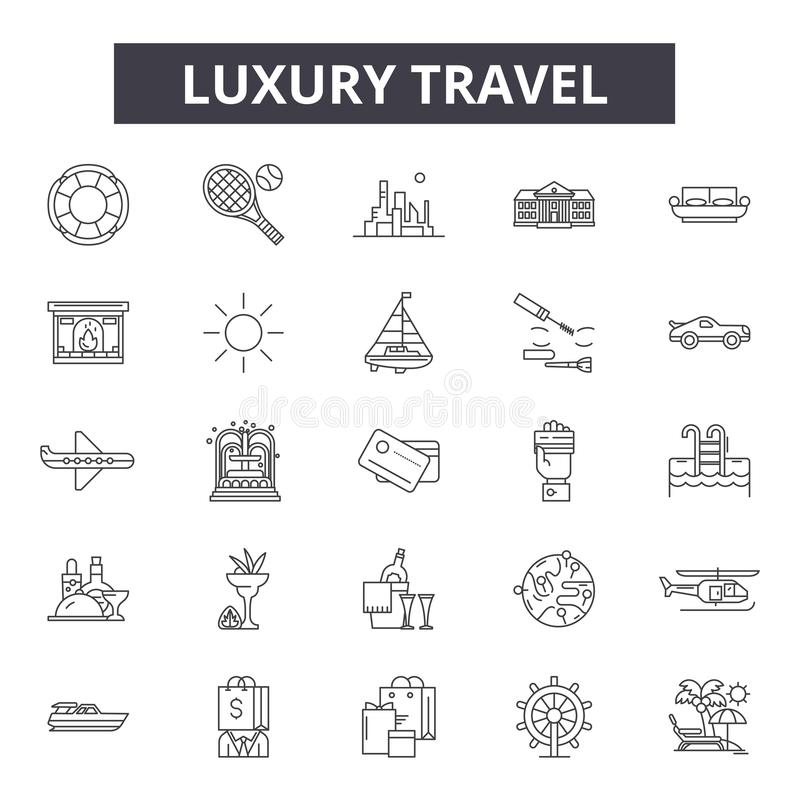 Luxury travel line icons, signs, vector set, outline illustration concept stock illustration