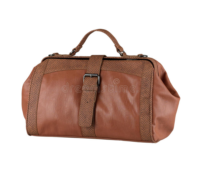 Luxury traveling bag. Nice and luxury leather traveling bag in brown color royalty free stock photos